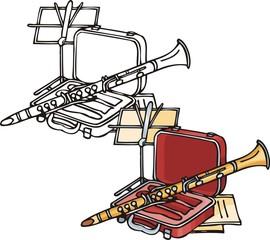 Orange pipe. Musical instruments.