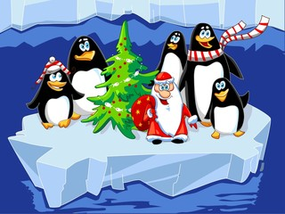 Santa with penguins and Christmas tree on the ice floe