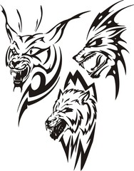 Lynx with sharp canines and two wolves. Tribal predators.