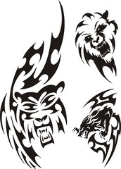 Bear, wolf and lion. Tribal predators.