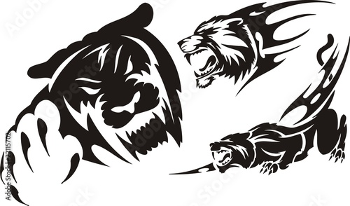 Quot Head Of A Panther And A Lioness Tribal Predators Quot Stock