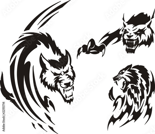 Quot Two Wolf And Lynx Tribal Predators Quot Stock Image And