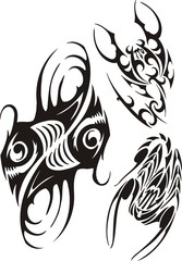 Two scorpions and two fishes with the big dens. Tribal clipart.