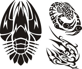 Cancer, a scorpion and not clear drawing. Tribal clipart.
