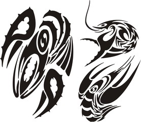 Three drawings of cancers. Tribal clipart.