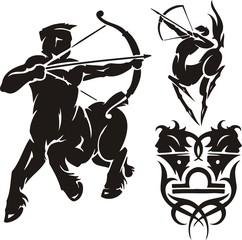 Centaur with a bow. Tribal clipart.