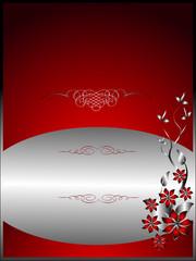 A silver floral menu template design
