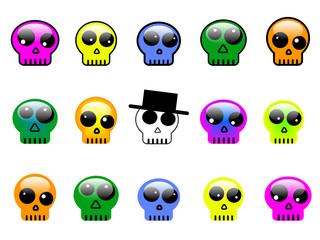 vector set of colorful 3d skull buttons, symbols or signs