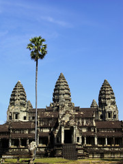 Three towers of Angkor Wat temple with a high palm