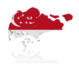 Singapore map flag 3d render with reflection illustration