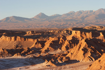 Atacama Desert and volcano range in evening, Chile