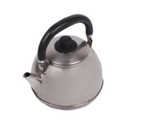 Metal teapot. Isolated object on a white background