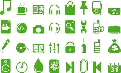 Green icon set. vector