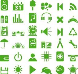 Green icon set. vector