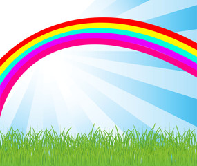 vector background with rainbow and grass