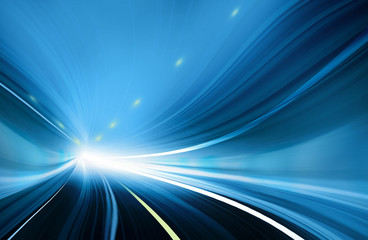Abstract Speed motion in blue highway tunnel