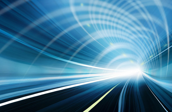 Abstract Speed motion in blue highway road