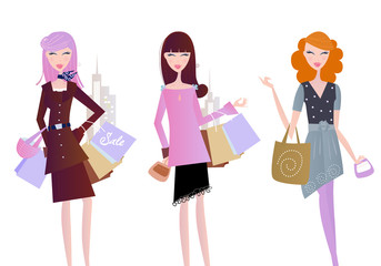 Women with shopping bags isolated on white. Vector.