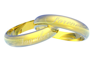 Two Gold Rings Engraved Together Forever