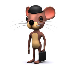Business mouse in bowler hat