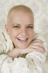 portrait of smiling bald woman