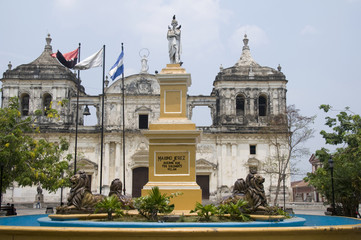 fountain and leon cathedral in central park leon nicaragua