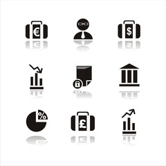 set of 9 black finance icons
