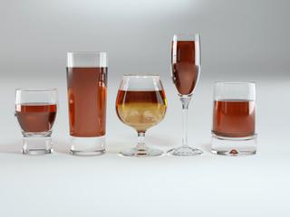 Many glass goblets