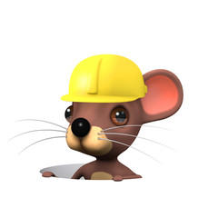 3d Worker mouse down hole