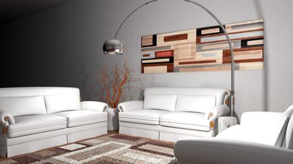 Soggiorno con divani quadro e lampada