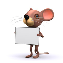 3d mouse  holding sign