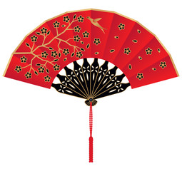 Red Silk Chinese Fan Decorated with Flowers and Bird