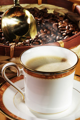 Kaffee Wellness mit Kaffeebohnen, hoch 2