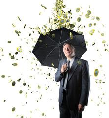 rain money on confident businessman