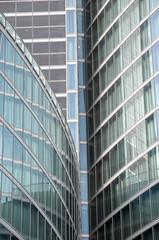 Modern building glass facades geometry