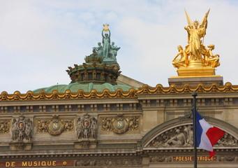 Palais or Opera Garnier with frech flag. France