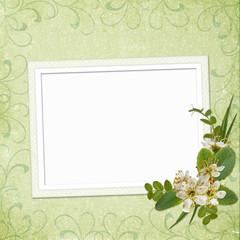 Framework for photo or invitation  with bunch of flowers.