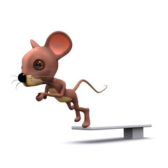 3d mouse takes the plunge off diving board