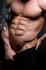 Male torso with muscled six-pack