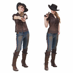 Pretty blond girl in the cowgirl costume. Isolated on white.