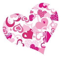 Abstract pink heart with a lot of hearts