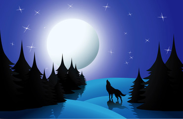 Wolf howling on moon, vector illustration