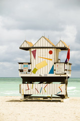iconic lifeguard beach hut south beach miami florida