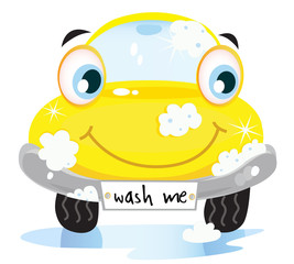 Car wash service - happy yellow automobile. VECTOR