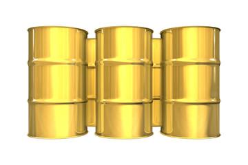 Gold oil barrels - 3d