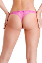 Slender and slim nude female body