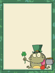 t Paddy's Day Frog In The Corner Of A Blank Menu