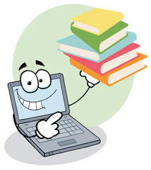 Laptop Cartoon Character Displays Stack Of Books