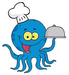 Character Octopus Chef Serving Food In A Sliver Platter