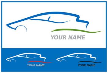 Icone Voiture Automobile en Bleu pour Design Logo
